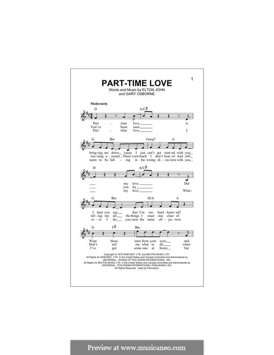 Part-Time Love: Melody line by Elton John, Gary Osborne