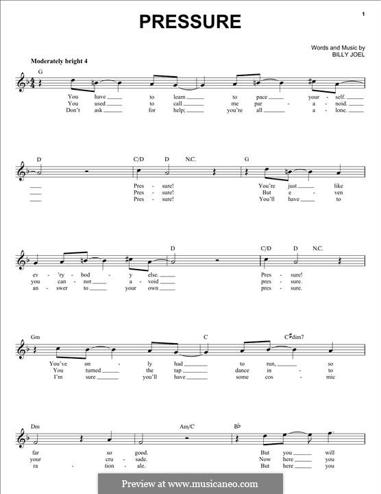 Pressure: Melody line by Billy Joel