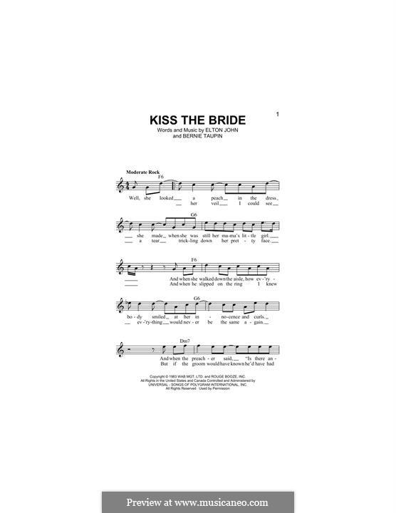 Kiss the Bride: Melody line by Elton John