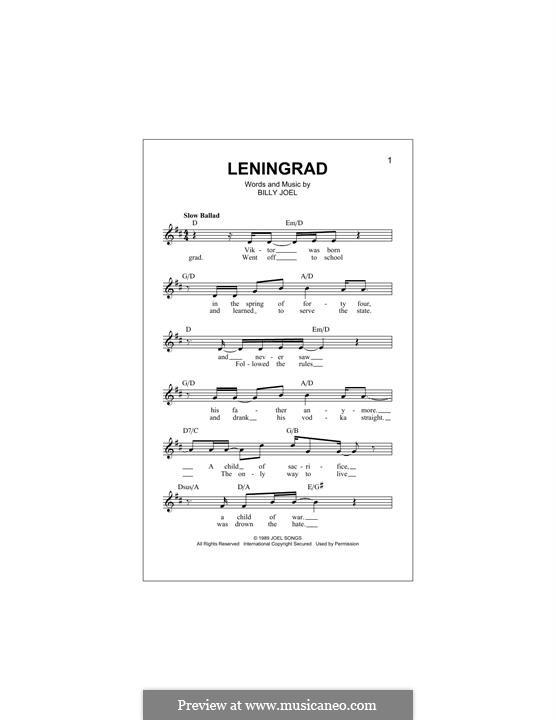 Leningrad: Melody line by Billy Joel
