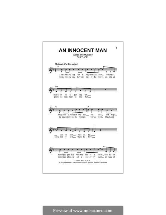 An Innocent Man: Melody line by Billy Joel