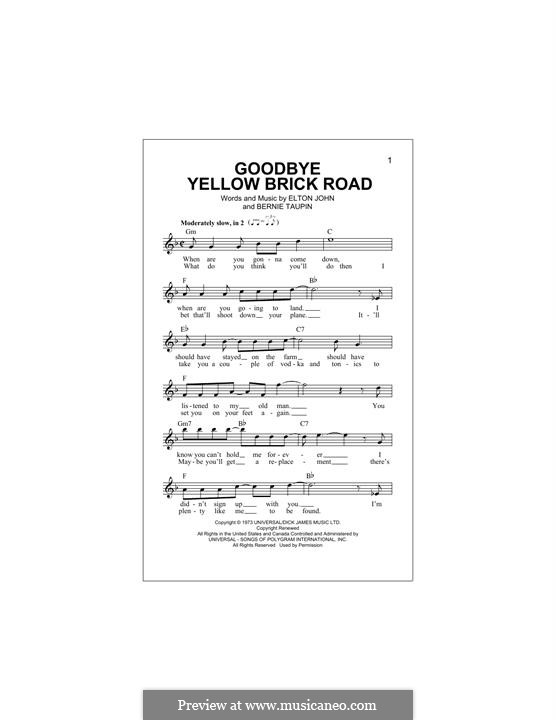 Goodbye Yellow Brick Road: Melody line by Elton John