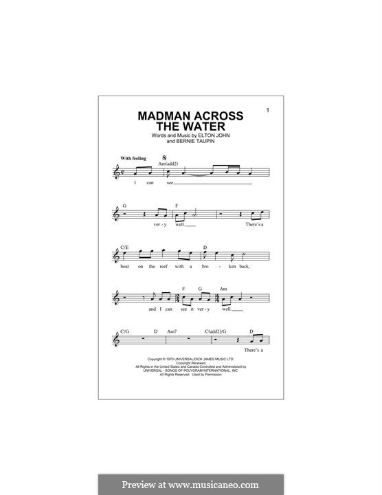 Madman Across the Water: Melody line by Elton John