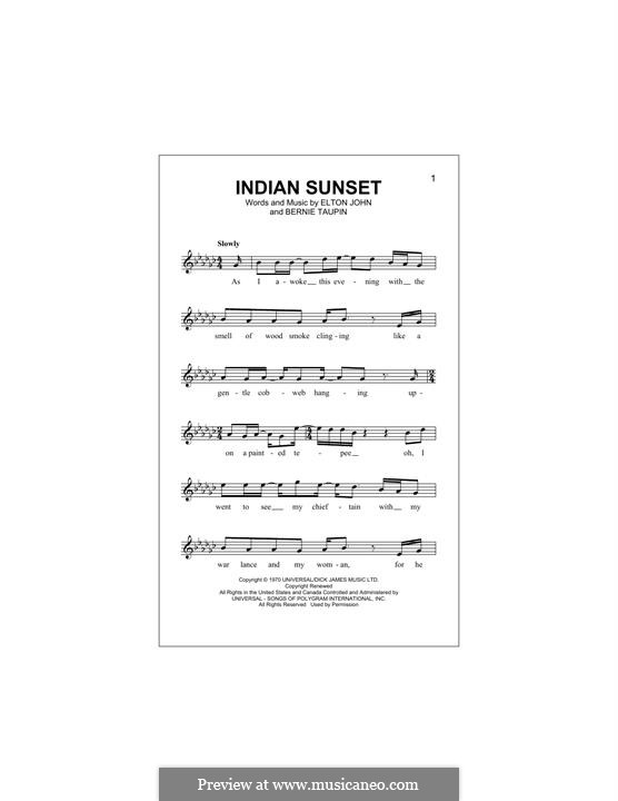 Indian Sunset: Melody line by Elton John