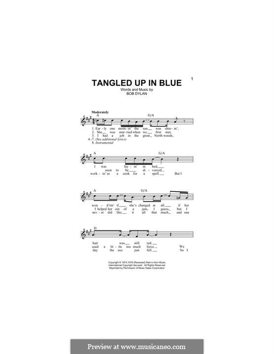 Tangled Up in Blue: Melody line by Bob Dylan