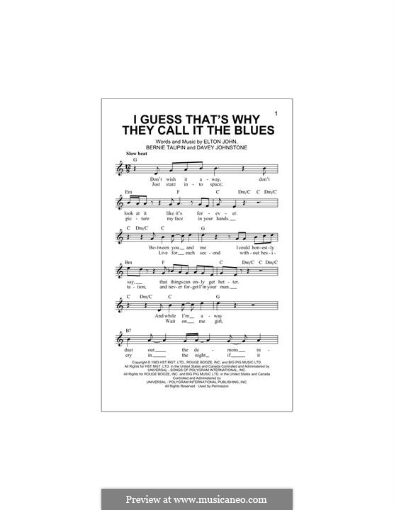 I Guess That's Why They Call It the Blues: Melody line by Davey Johnstone, Elton John