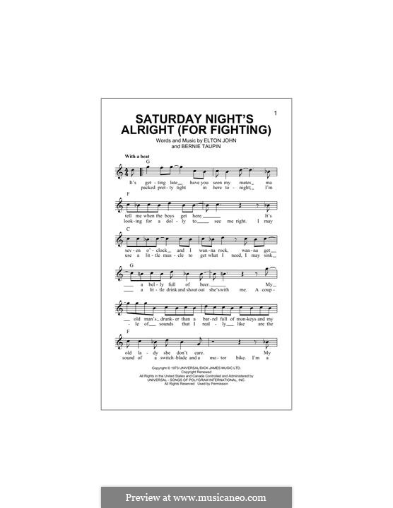 Saturday Night's Alright (For Fighting): Melody line by Elton John