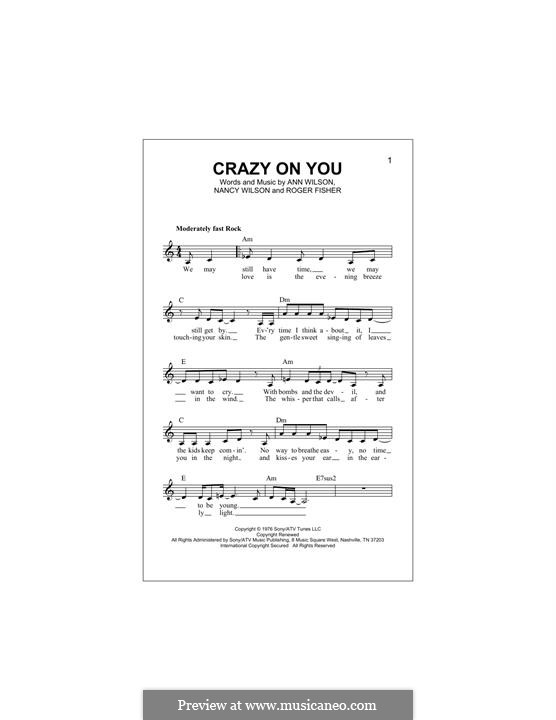 Crazy on You (Heart): Melody line by Ann Wilson, Nancy Wilson, Roger Fisher