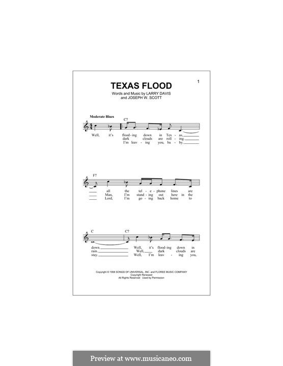 Texas Flood (Stevie Ray Vaughan): Melody line by Joseph W. Scott, Larry Davis
