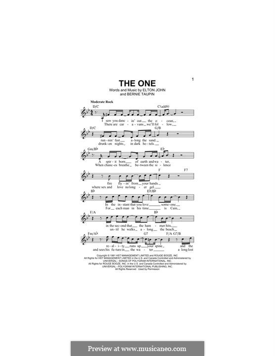 The One: Melody line by Elton John
