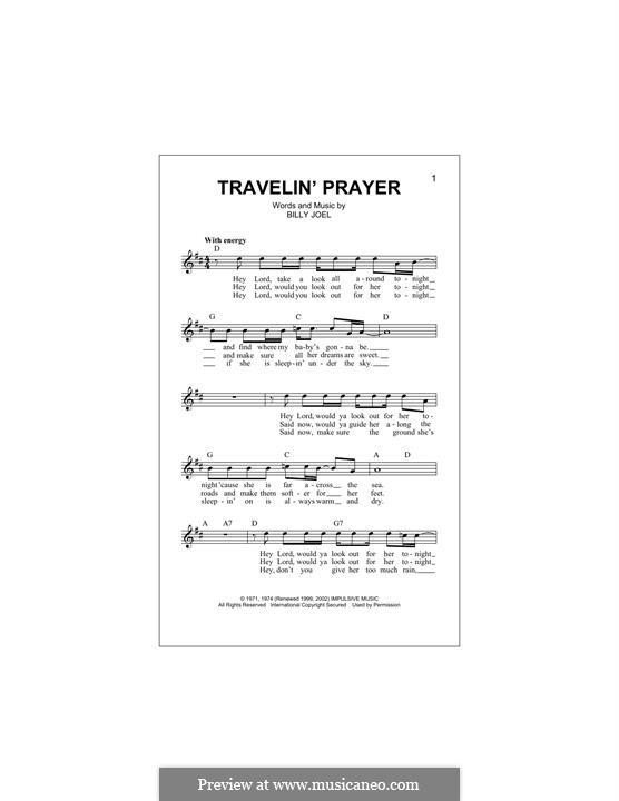 Travelin' Prayer: Melody line by Billy Joel