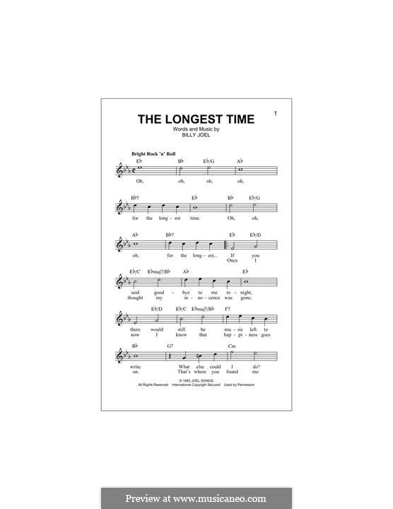 The Longest Time: Melody line by Billy Joel