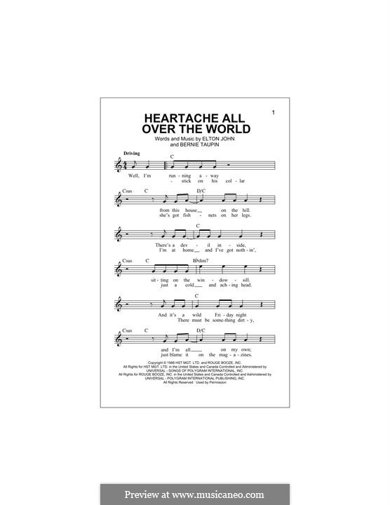 Heartache All Over the World: Melody line by Elton John