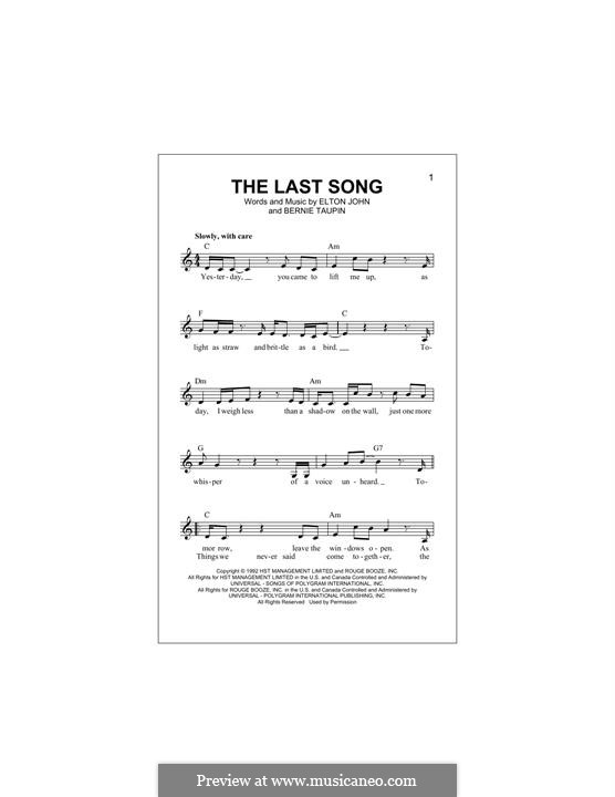 The Last Song: Melody line by Elton John