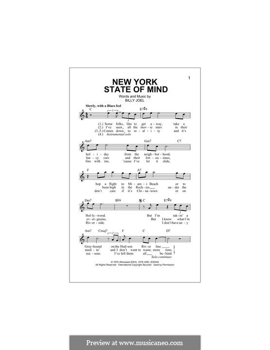 New York State of Mind: Melody line by Billy Joel