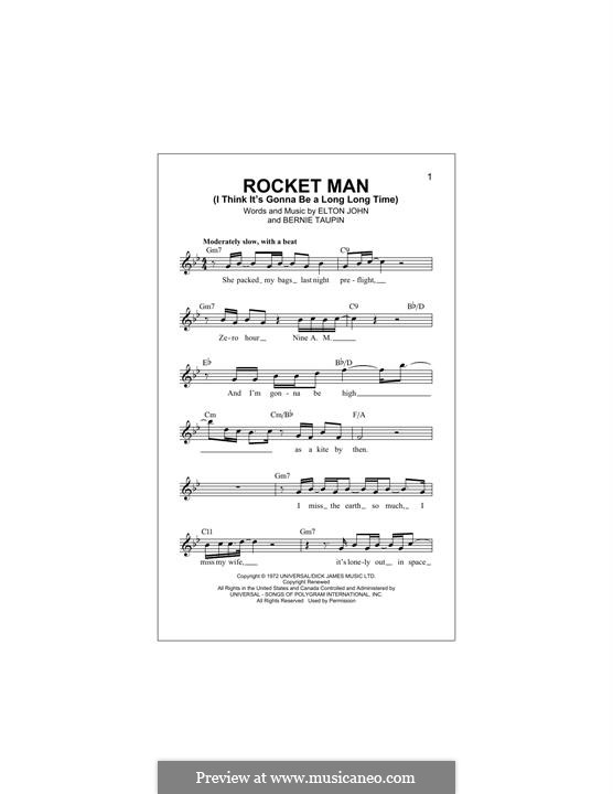 Rocket Man (I Think It's Gonna Be a Long Long Time): Melody line by Elton John