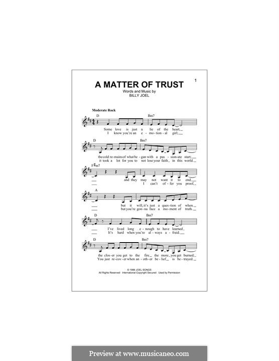 A Matter of Trust: Melody line by Billy Joel