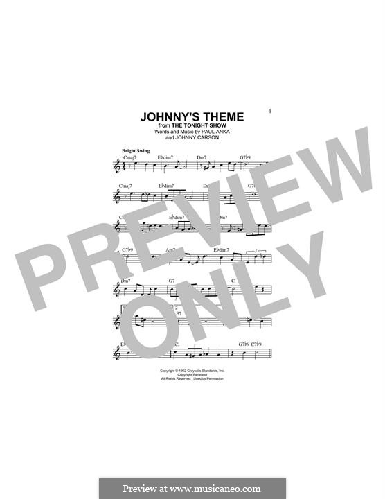 Johnny's Theme: Melody line by Paul Anka, Johnny Carson