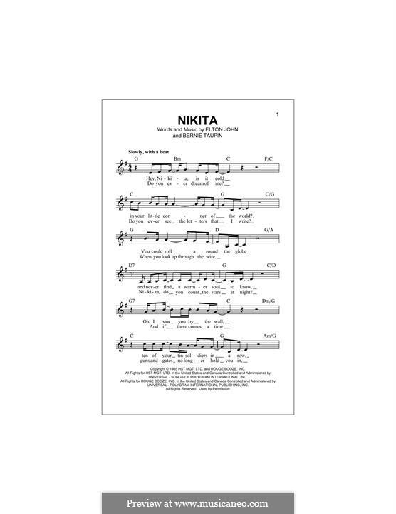 Nikita: Melody line by Elton John