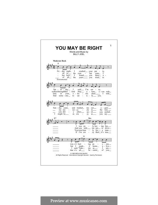 You May Be Right: Melody line by Billy Joel