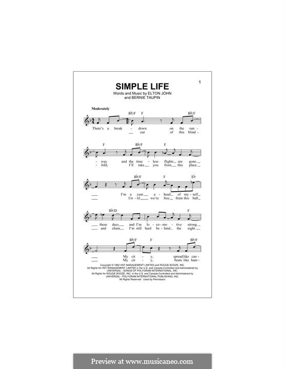 Simple Life: Melody line by Elton John