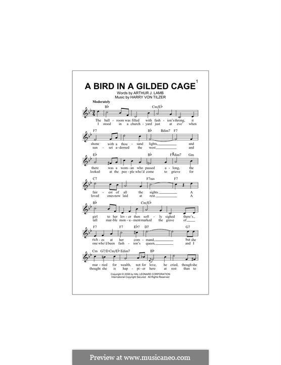 A Bird in a Gilded Cage: Melody line by Harry von Tilzer