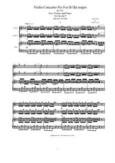 La Cetra (The Lyre). Twelve Violin Concertos, Op.9: No.9 Concerto in B Flat Major, for violin and piano, RV 530 by Antonio Vivaldi