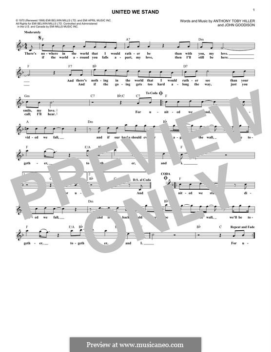United We Stand (Brotherhood of Man): Melody line by John Goodison