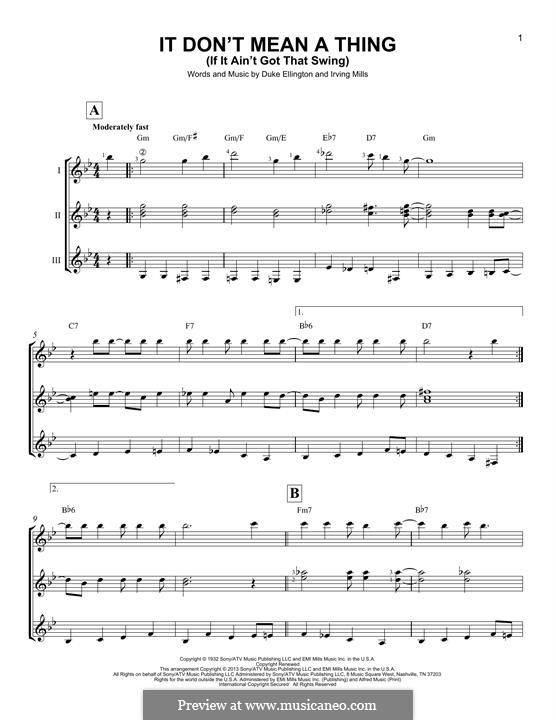 It Don't Mean a Thing (If It Ain't Got That Swing): For guitar with tab by Irving Mills, Duke Ellington