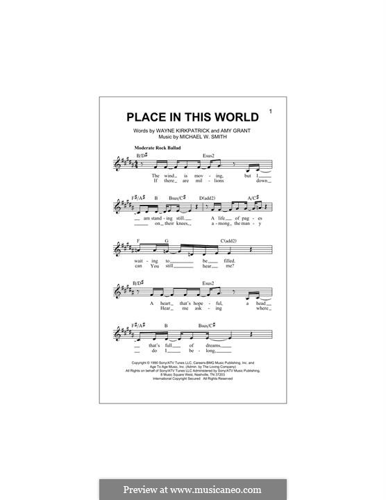 Place in This World: Melody line by Michael W. Smith