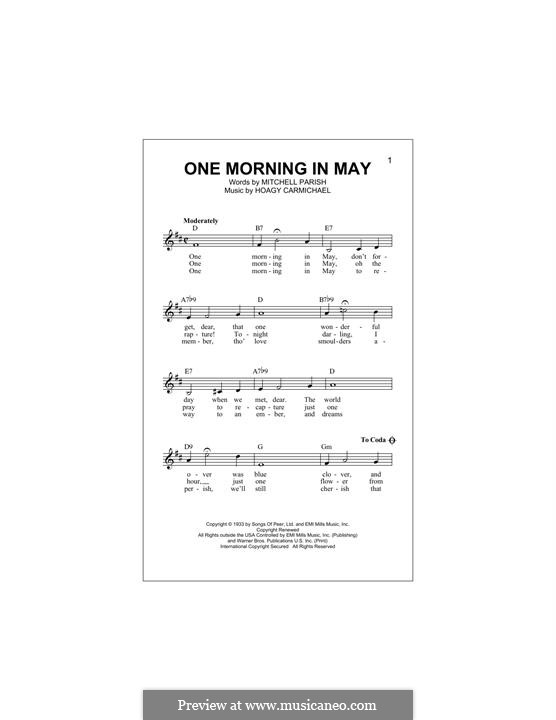One Morning in May: Melody line by Hoagy Carmichael
