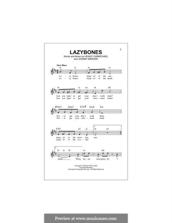 Lazybones: Melody line by Johnny Mercer