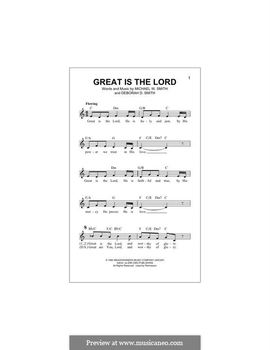 Great Is the Lord: Melody line by Michael W. Smith