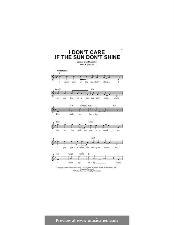 I Don't Care If the Sun Don't Shine (Elvis Presley): Melody line by Mack David