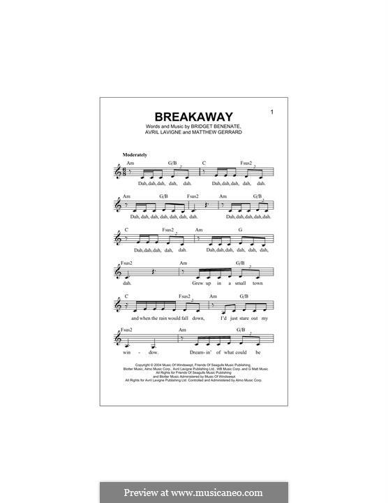Breakaway (Kelly Clarkson): Melody line by Avril Lavigne, Bridget Benenate, Matthew Gerrard