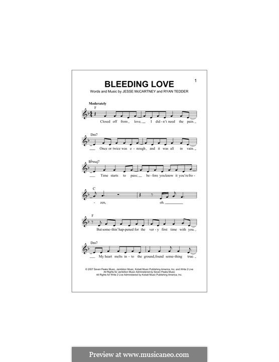 Bleeding Love (Leona Lewis): Melody line by Jesse McCartney, Ryan B Tedder