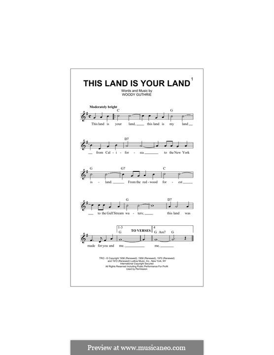 This Land Is Your Land (The New Christy Minstrels): Melody line by Woody Guthrie