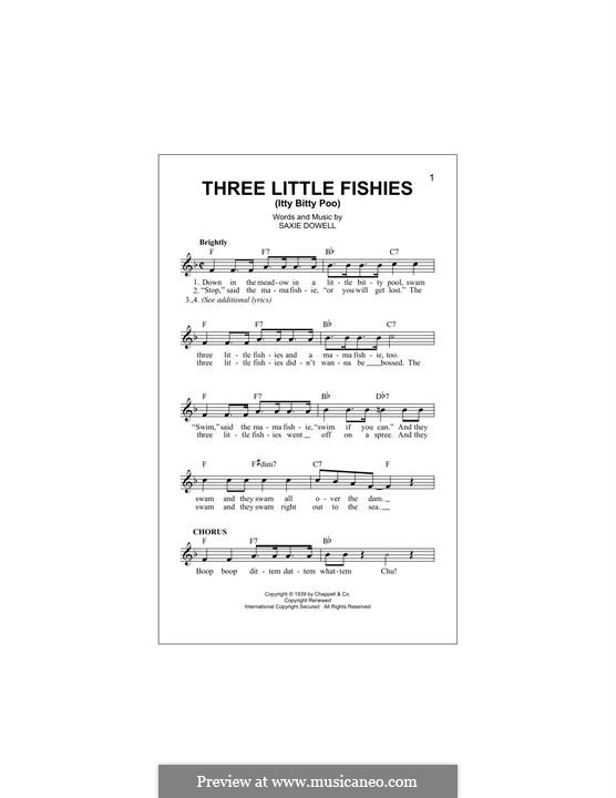 Three Little Fishes: Melody line by Saxie Dowell