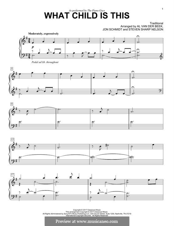 What Child Is This?, for Piano: For a single performer by folklore
