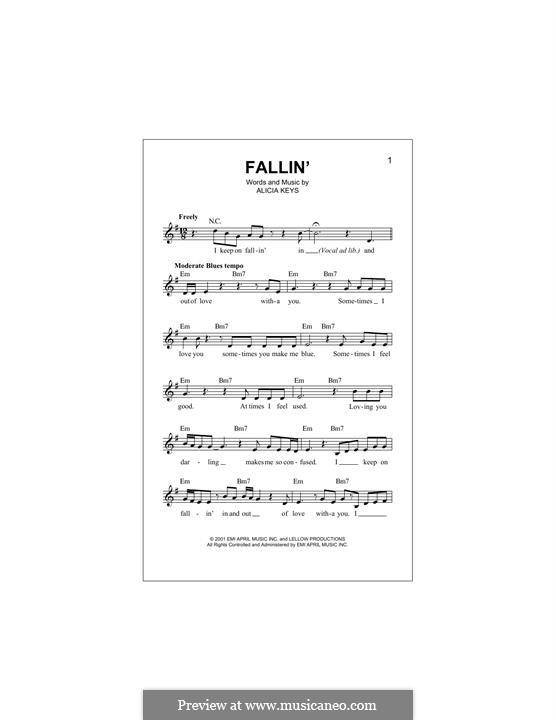 Fallin': Melody line by Alicia Keys