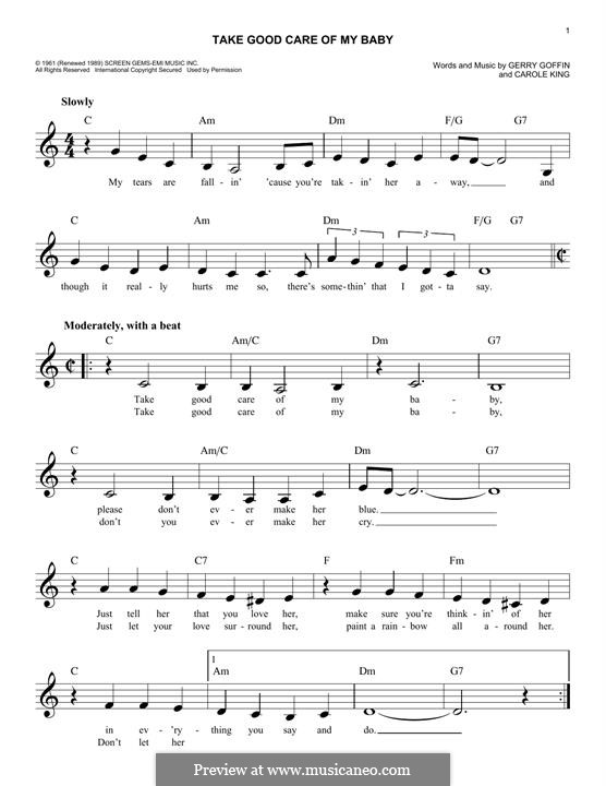 Take Good Care of My Baby (Bobby Vee): Melody line by Carole King, Gerry Goffin