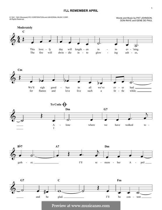 I'll Remember April (Woody Herman): Melody line by Don Raye, Gene de Paul, Patricia Johnson