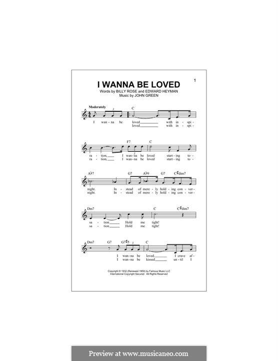 I Wanna Be Loved (Dinah Washington): Melody line by John W. Green