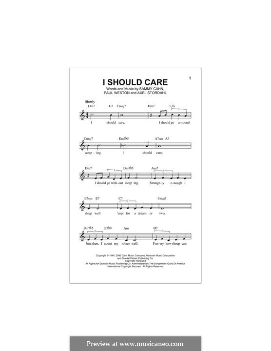 I Should Care: Melody line by Axel Stordahl, Paul Weston, Sammy Cahn