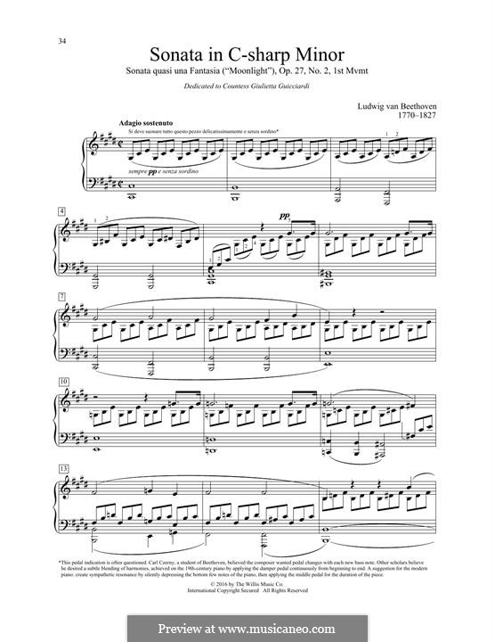 Movement I (Printable scores): For a single performer by Ludwig van Beethoven