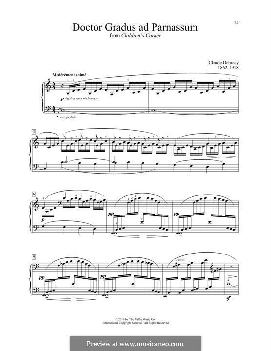 No.1 Doctor Gradus ad Parnassum: For piano by Claude Debussy