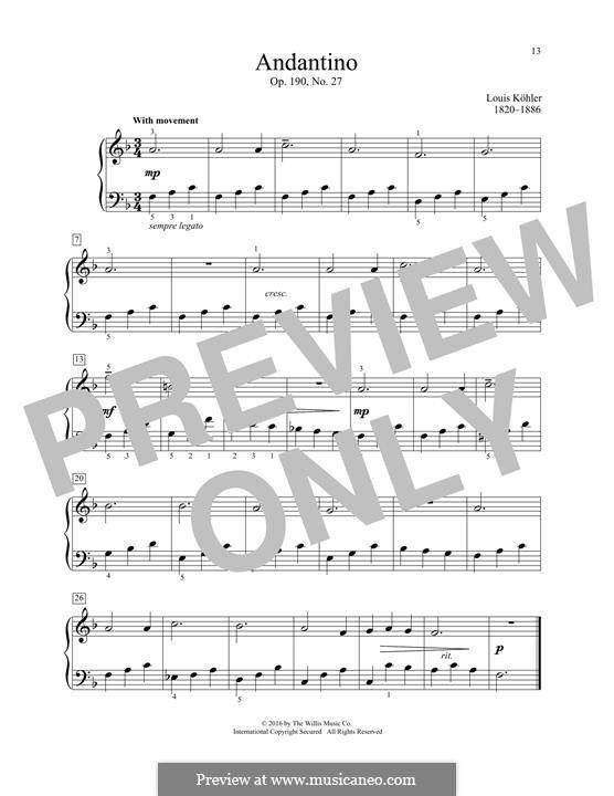 Andantino, Op.190 No.27: Andantino by Louis Köhler
