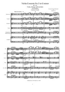 La Cetra (The Lyre). Twelve Violin Concertos, Op.9: No.3 Concerto in G Minor – score and all parts, RV 334 by Antonio Vivaldi
