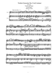 La Cetra (The Lyre). Twelve Violin Concertos, Op.9: No.3 Concerto in G Minor, for violin and piano, RV 334 by Antonio Vivaldi
