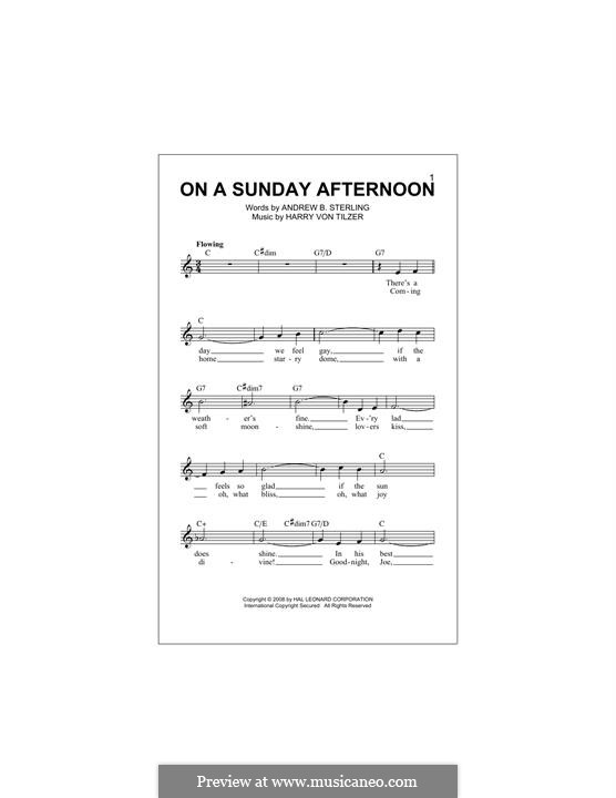 On a Sunday Afternoon: Melody line by Harry von Tilzer